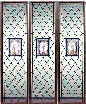 English Renaissance Style Leaded Glass Window Panels with Diamond Design