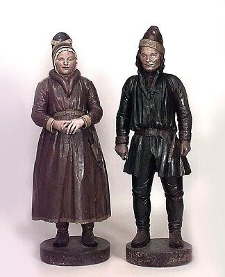 Pair of Continental Laplander (19th Cent) Carousel Style Carved Life Size Figure