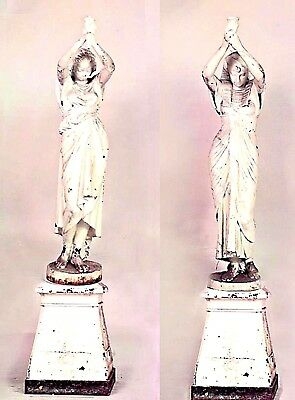 Pair of Outdoor French Egyptian Revival Style Cast Iron Nubian Women