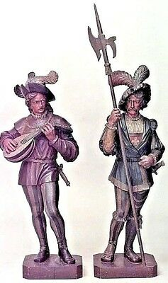 Pair of Italian Renaissance Style (19th Cent.) Carved and Painted Large Figures