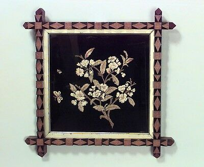 English Victorian rectangular gold floral embroidery on black background with oa