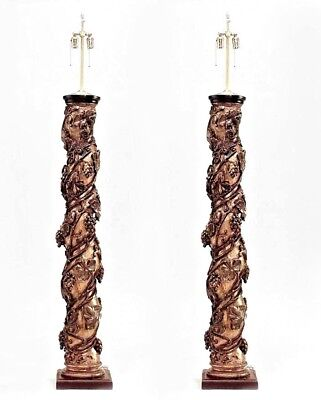 Pair of Italian Rococo Style (17/18th Cent) Swirl Column Mounted Lamps