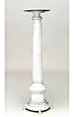 Outdoor Painted Iron Fluted Column Pedestal with Round Top (20th Cent.)
