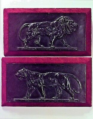 Pair of French Victorian Rectangular Bronze Wall Plaques of Lion and Tiger