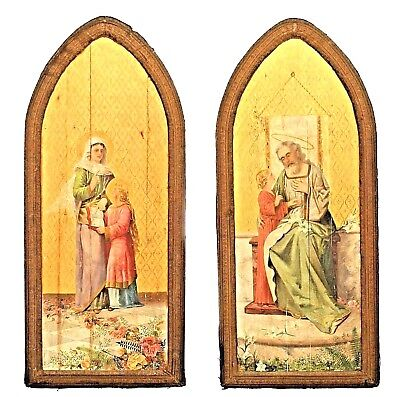 Pair of English Gothic Revival Style (19th Cent) Painted and Gilt Wall Plaques