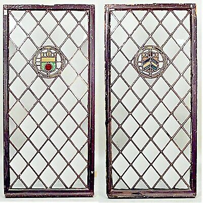 Pair of English Renaissance Style Large Leaded Glass Window Panels (19th Cent.)