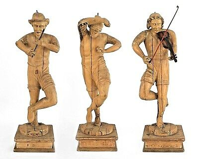 Set of 3 Italian Renaissance Style (19th Cent) Stripped Figures Playing Music