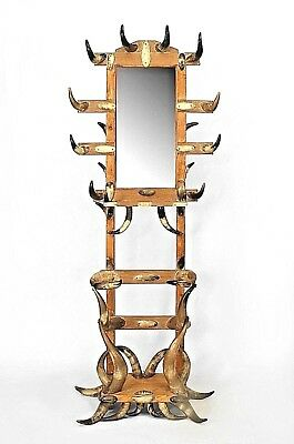 American Victorian Steer Horn and Stripped Pine Hatrack/Umbrella Stand
