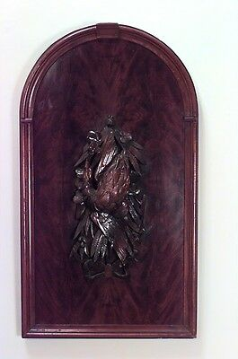 English Country Style (19/20th Cent) Mahogany Carved Animal Game Wall Plaque