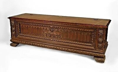 English Renaissance Style (19th Cent) Walnut Carved Cassone Style Floor Trunk