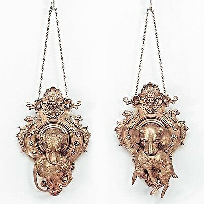 Pair of French Victorian Bronze Wall Plaques of Dogs Holding Bird and Rabbit