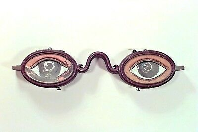 English Country painted tole and glass hanging eye glass sign (19th Cent)