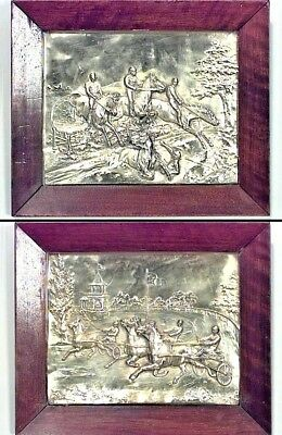 Pair of English Victorian Country Style Brass Horse Racing Wall Plaques