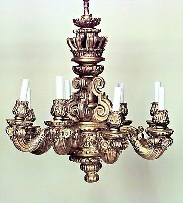 French Louis XIV Style (19th Cent) Wood & Gesso Gold Painted 8 Arm Chandelier