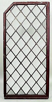 Pair of American Victorian Large Leaded Glass Window Panels with Diamond Design