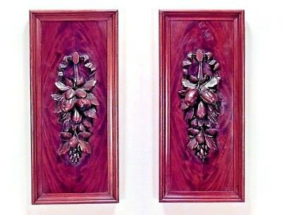 Pair of English Victorian Country Style Mahogany Carved Wall Plaques