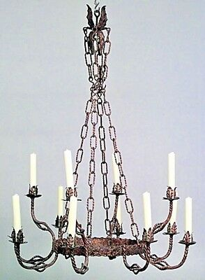 English Renaissance Style (19/20th Cent) Gilt Iron 12 Scroll Arm Chandelier