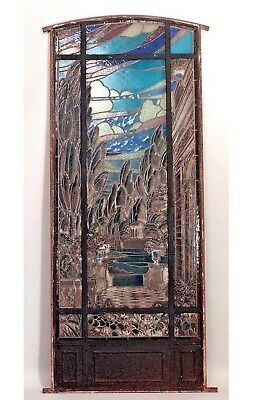Italian Renaissance Style (19th Cent) Iron Framed Stained & Leaded Glass Window