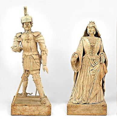 Pair of French (19th Cent) White Painted Monumental Figures of a Duke & Duchess