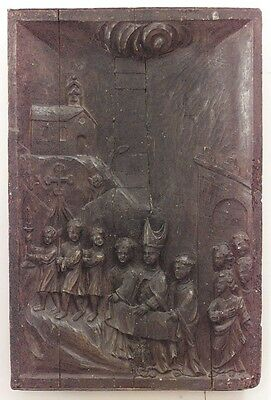 Italian Renaissance (16th Cent.) Oak Carved Relief Wall Plaque