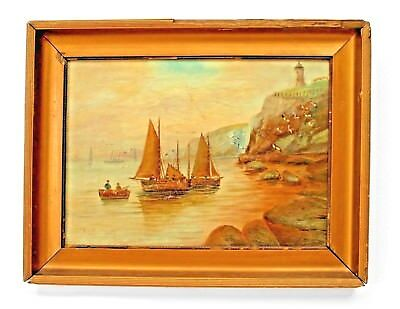 Pair of English Victorian Gilt Framed Seascape Oil Paintings of Sailboats