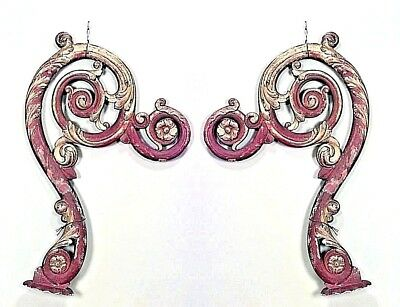 Pair of Italian Rococo Style Red & Gold Painted Scroll Carved Wall Brackets