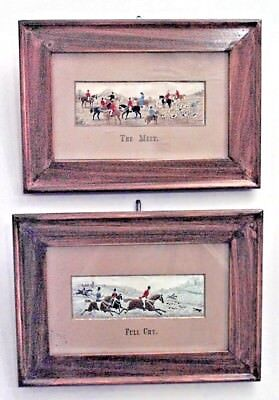 Pair of English Victorian Fruitwood Framed Embroidered Hunt Scenes (Stevens)