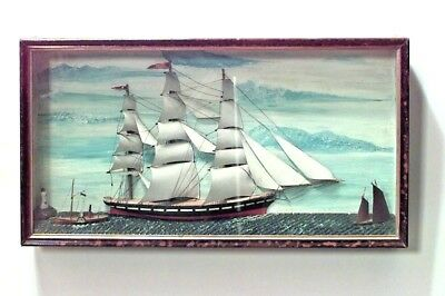 English Country (19th Cent) Painted Diorama Wall Plaque with Clipper Ship