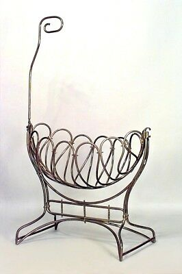 Austrian brass bentwood style (19/20th Cent) cradle with canopy