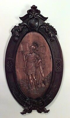 Italian (19th Cent) large oval walnut framed wall plaque with fruitwood center w