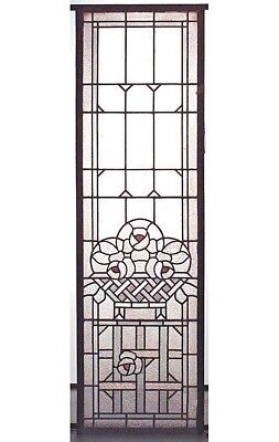 French Victorian Wood Framed Leaded Glass Panels with Floral Design (PRICED EA)
