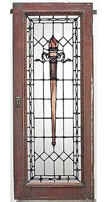 American Victorian Mahogany Framed Leaded Glass Windows with Torch Design