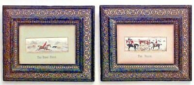 Pair of English Victorian Silk Embroidered Hunting Scenes in Frames