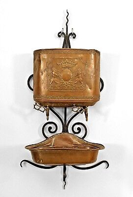 English Renaissance Style (19/20th Cent) Copper Lavabo with Wrought Iron Bracket