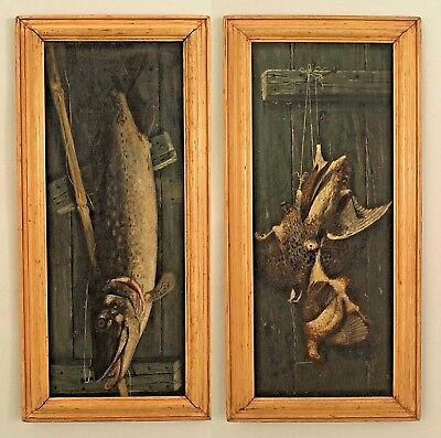 Pair of American Victorian (19th/20th Cent) Oil Paintings of Fish and Game Birds