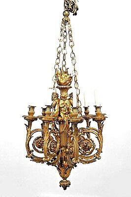 French Louis XVI Style (19th Cent) Bronze Dore 9 Scroll Arm Chandelier