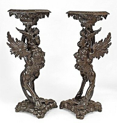 Pair of Italian (19th Cent) Walnut Carved Winged Griffin Base Pedestals