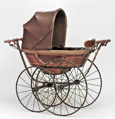 """English Victorian Pine Painted and Ebonized Trim """"CEE"""" Spring Baby Carriage"""