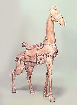 American Carousel Style (20th Cent.) Stripped Pine Large Giraffe Figure