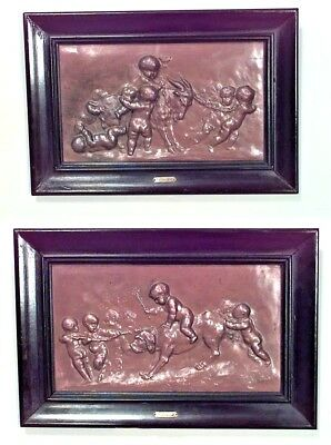 Pair of French Victorian Rectangular Copper Wall Plaques of Cupids and Animals