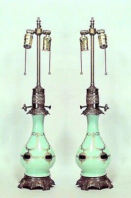 Pair of English Regency Style (19th Cent.) Celadon Glass Table Lamps