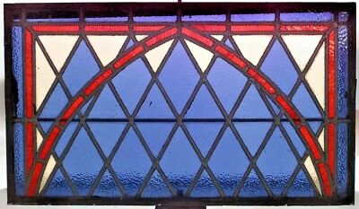 American Victorian Iron Casement Windows with Blue Leaded Glass (PRICED EACH)