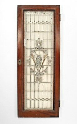 American Victorian Large Mahogany Framed Leaded Glass Window with Owl Design