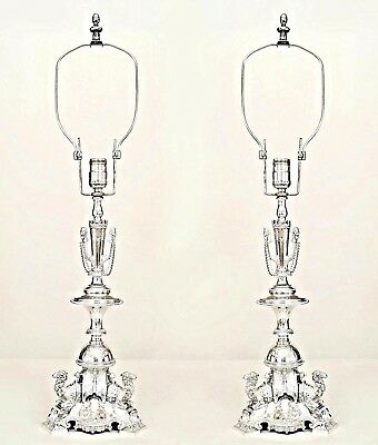 Pair of English Regency Style (19th Cent) Silver Plate Table Lamps