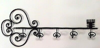 Country Style Wrought Iron Key Shaped Wall Hatrack (20th Cent.)