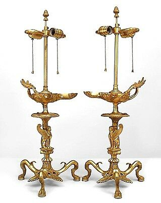 Pair of English Regency Style (19th Cent.) Gilt Bronze Aladdin Style Table Lamps