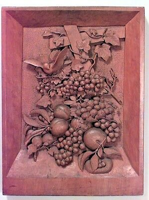 English Country style (19th Cent) carved walnut wall plaque with grape and flora