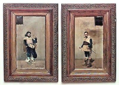 Pair of French  Victorian (19th Cent) Oil Paintings of Standing Cavaliers