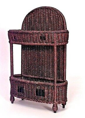 American Victorian Natural Wicker Rectangular Umbrella Stand