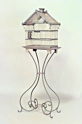 American Victorian Style Blue Painted Metal Bird Cage with Iron Scroll Base